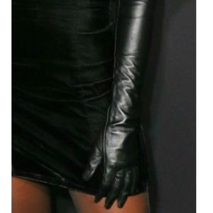 All black elbow gloves, faux leather